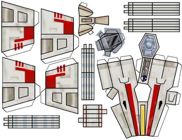 Космический корабль, бумажный шаблон
