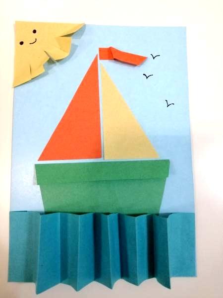 Кораблик в море поделка