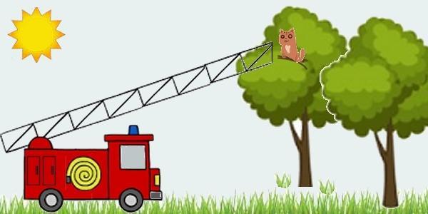 Пожарная машина и котенок